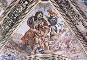 Adam protecting his children from the clutches of Lilith, the child stealer. 1502